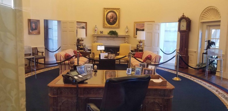 The Oval Office replicated exactly as it appeared while Bill Clinton served as President.