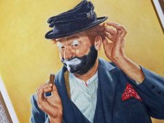 An oil painting on canvas of Red Skelton in character as Freddie the Freeloader by Fred Williams.
