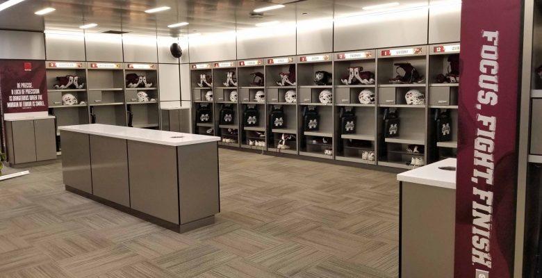 Mississippi State football locker room at Davis Wade Stadium.