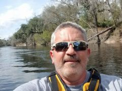Brad Saum enjoying the afternoon kayaking the Suwannee River.