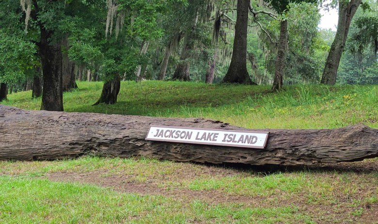 Entrance sign to Jackson Lake ISland in Alabama where I found Spectre in Big Fish Movie.