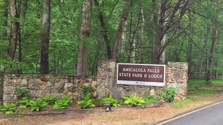 Amicalola Falls State Park entrance sign where the Appalachian Trail begins.