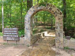 Stone arch marking start of Appalachian Trail approach trail.