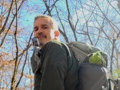 Brad Saum with Mariposa 60L backpack.