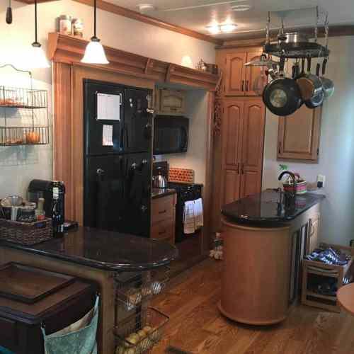 Kitchen inside our fifth wheel RV camper