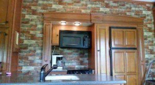 brick wallpaper in RV kitchen