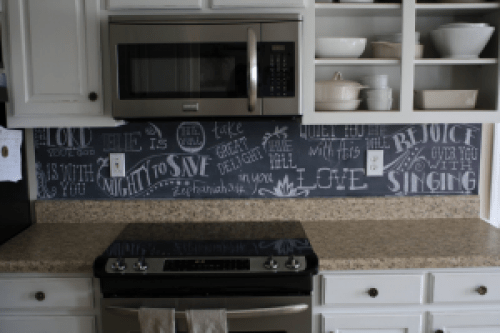 chalkboard backsplash
