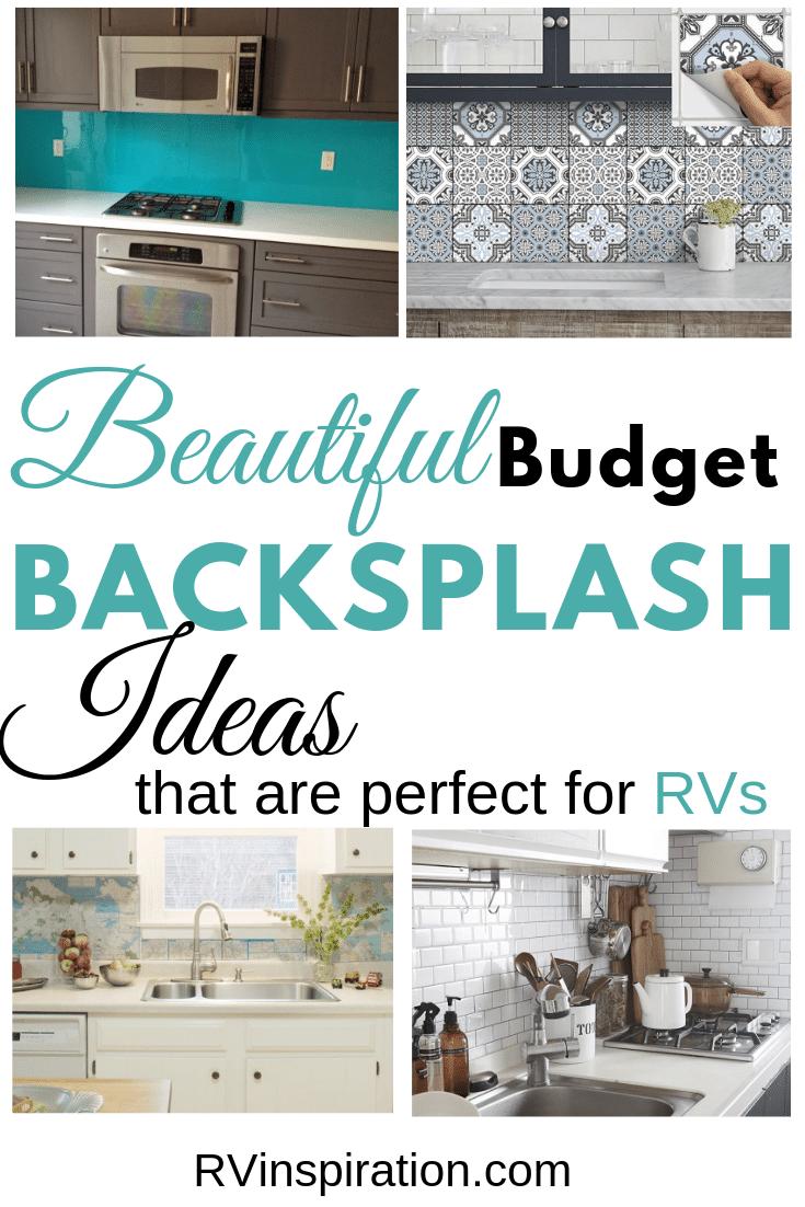 Want a new backsplash for your RV? Here are some affordable DIY ideas. #DIYbacksplash #RVrenovation #RVmakeover #RVremodel