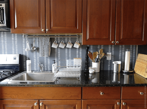 Painted plywood backsplash
