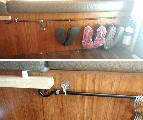 RV shoes storage - shoes hung from curtain rod using S hooks - Idea by Kerry Boyd-Motton