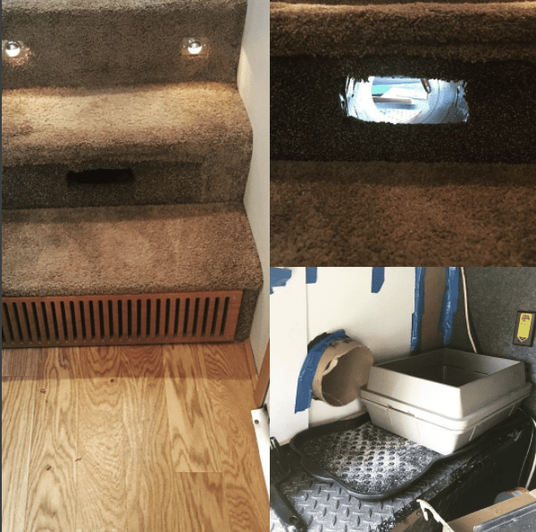 Cat tunnel through stairs so you can take your cat camping