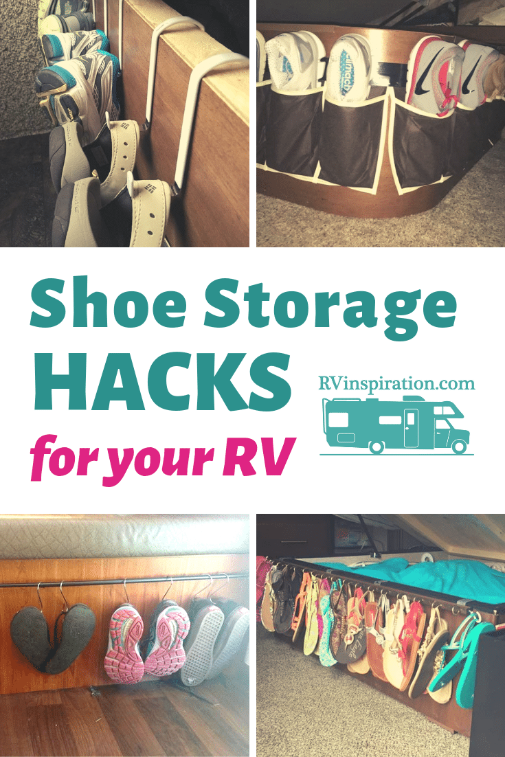 Ideas for storing and organizing shoes in your RV, camper, or motorhome | rvinspiration.com #RVorganization #RV