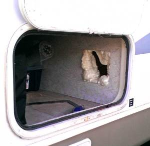 litter box storage idea for RVs, campers, or motorhomes