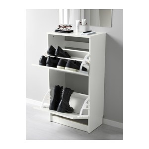small space shoe storage idea: BISSA Shoe Cabinet from IKEA