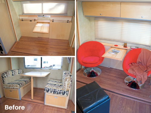 Removed motorhome dining booth, added custom pull out table and extra storage | RVs, campers, travel trailers, and motorhomes without the dinette booth
