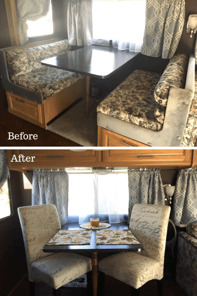 Lynette Sapp RV Dining Area Before and After