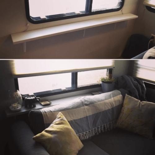 DIY plant shelf behind sofa | RVinspiration.com | #storage ideas for your #motorhome, #camper, #traveltrailer, or #RV