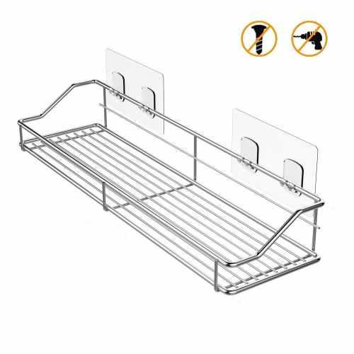 Adhesive Bathroom Shelf Shower Caddy Organizer Storage Kitchen Spice Rack SUS304 Stainless Steel - No Drilling