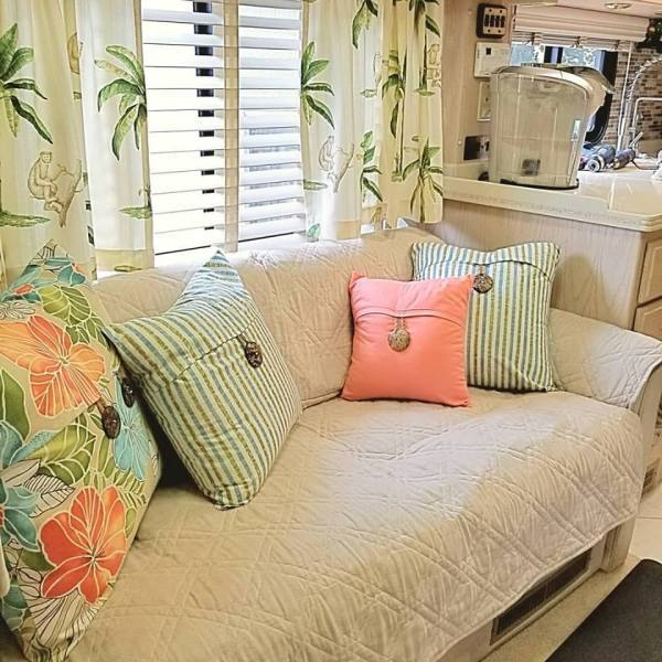 Blinds and curtains as window treatments in RV