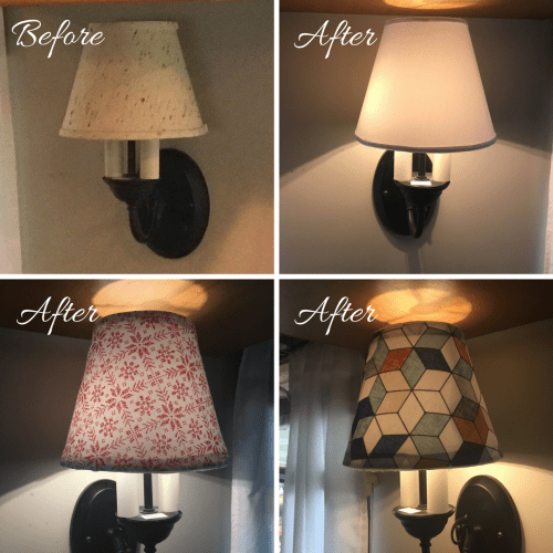 DIY Changeable lamp shade covers for my RV wall sconce