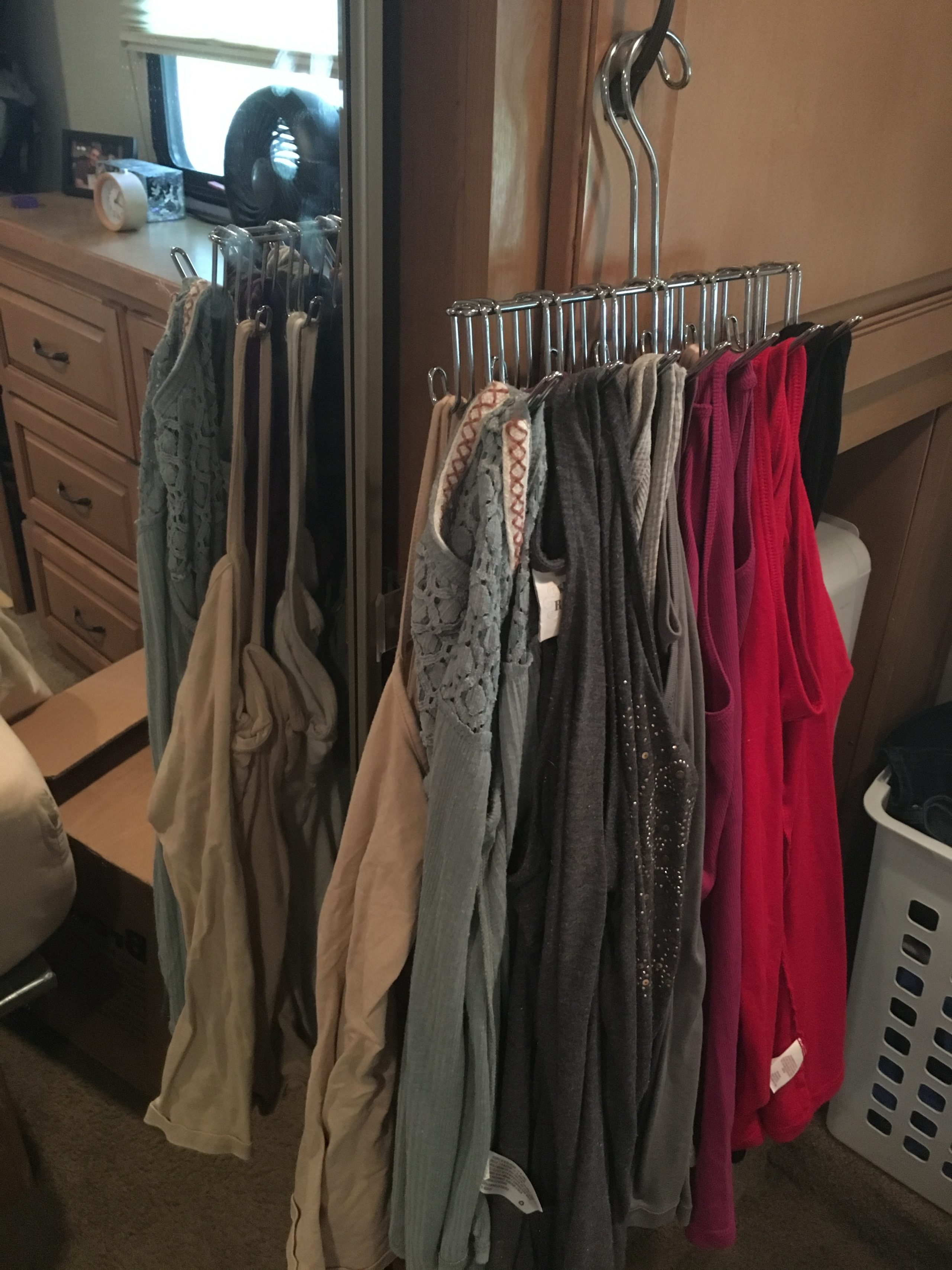 RV closet storage and organization idea   RVinspiration.com   ideas for campers, travel trailers, and motorhomes