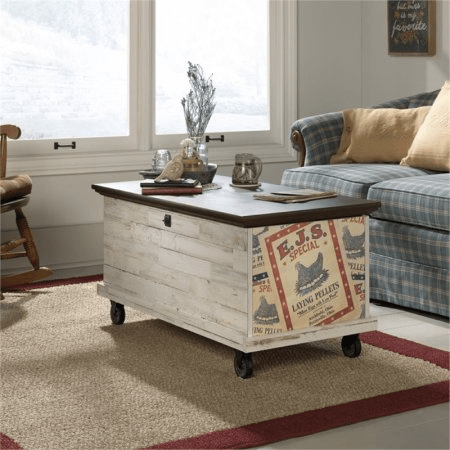 Farmhouse storage coffee table for motorhomes, campers, and travel trailers | RV furniture