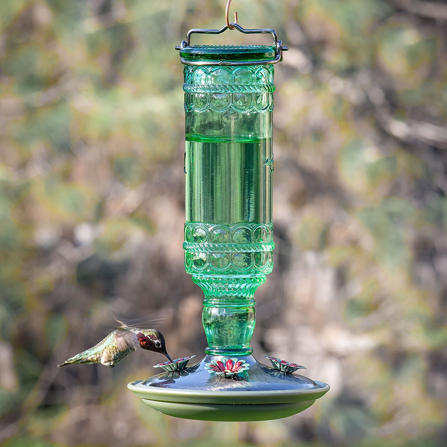 Vintage bottle hummingbird feeder