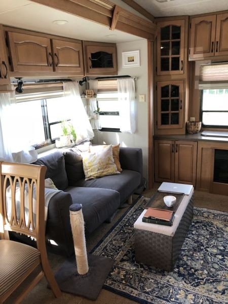 Area rug added to our fifth wheel RV living room