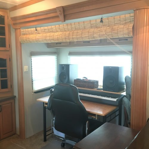 Work /#office / recording space in #RV | RVinspiration.com | ideas for your #campers, #motorhome, or #traveltrailer