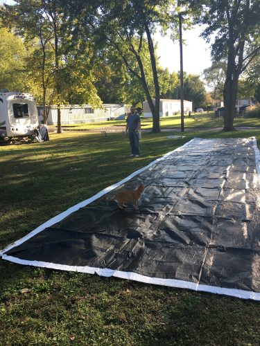 Billboard tarp vinyl used to make RV skirting for cold weather and winter camping