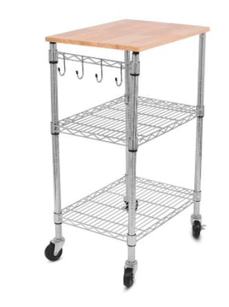 This storage cart would be a handy way to add storage and extra counter space to a small RV kitchen.