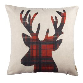 "Fjfz Christmas Winter Deer, Scottish Buffalo Plaid Cotton Linen Home Decorative Throw Pillow Case Cushion Cover for Sofa Couch, Red, 18"" x 18"" from Amazon.com"