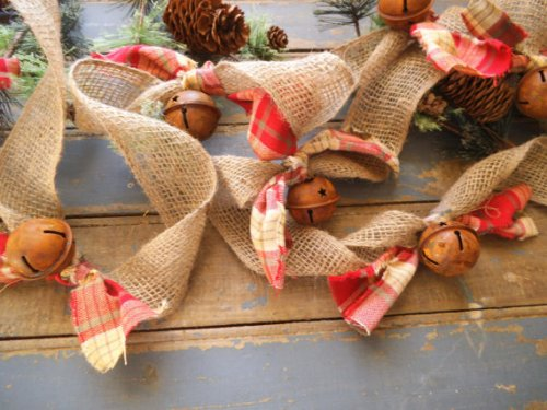 Rustic burlap jingle bell garland from RagsandBerries Etsy store