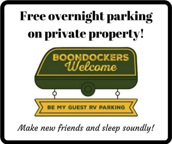 Boondockers Welcome: free overnight parking on private property