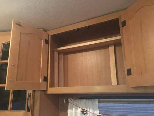 Add #storage to an #RV #camper with this easy removable shelf idea