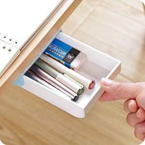 Stick this adhesive drawer to the bottom of a desk, table, or cabinet to organize and add extra storage in your office, kitchen, or bathroom.