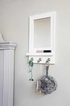 Adhesive mirror organizer with hooks