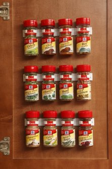 Spice organizer clips for RV kitchen storage