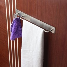 "9"" adhesive towel bar with hook for bathroom hand towel storage or shower organization"