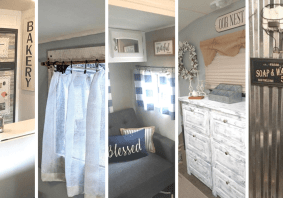 If Joanna Gaines were to do a makeover on a travel trailer or motorhome, I would imagine it would end up look something like these beautifully decorated RV's! Let these ladies' decor inspire your own Farmhouse style camper makeover!