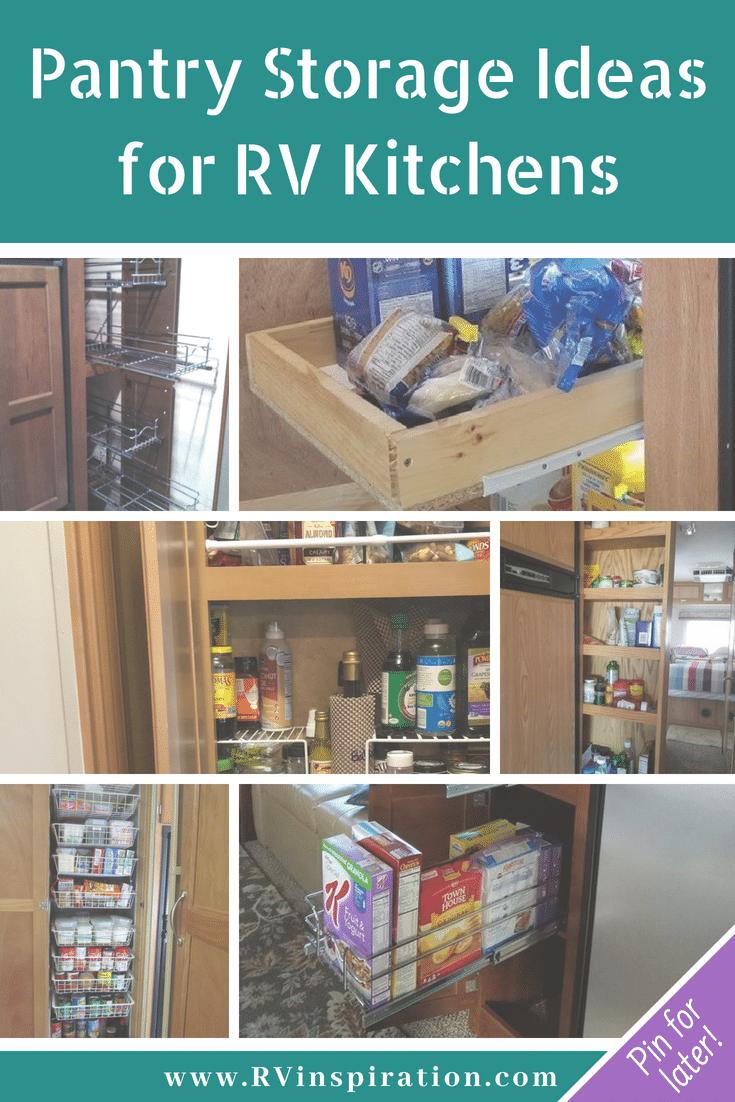 Storage and organization ideas for #RV kitchen pantry cabinets | #motorhome #camper #traveltrailer