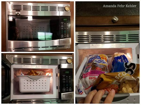 The microwave can be used as storage in an RV kitchen.
