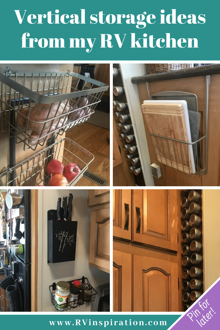 Wall storage ideas for organizing the kitchen of a #camper, #RV, #motorhome, or #traveltrailer