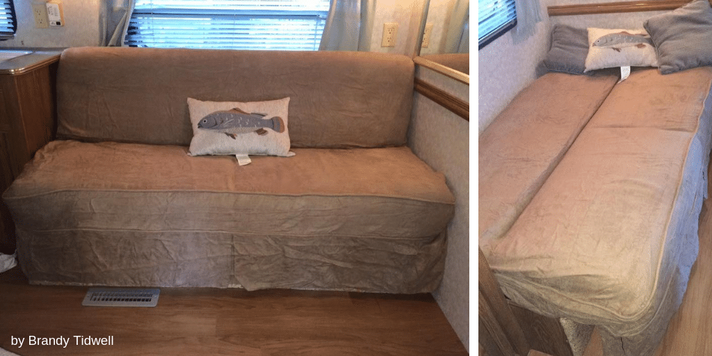 Makeover of jackknife sofa in RV using a futon slipcover | by Brandy Tidwell