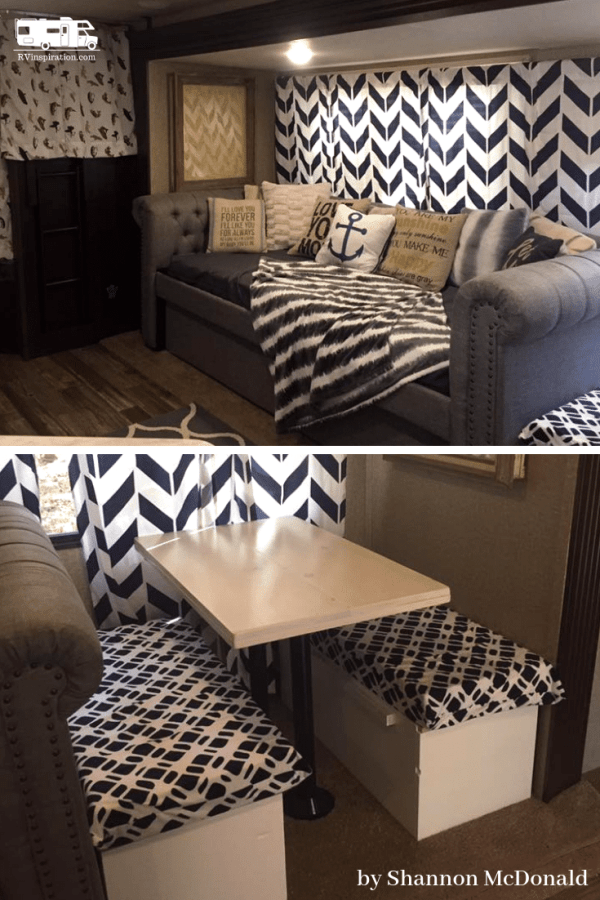 Daybed and Dining Booth in RV by Shannon McDonald | RVinspiration.com