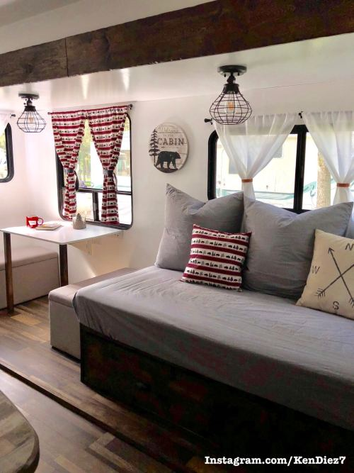 Custom built wood DIY RV sofa daybed with drawer storage