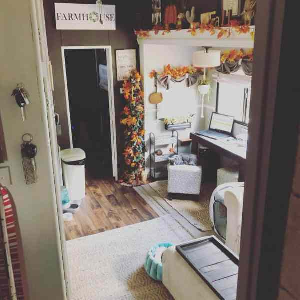 Fifth wheel RV decorated for autumn by Christina Havens LaPlaca