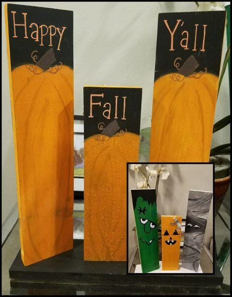 fall and Halloween decor by Crystal Dearstine