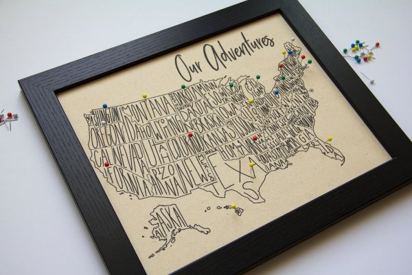 Push Pin Travel Map by PennyBeeArt on Etsy