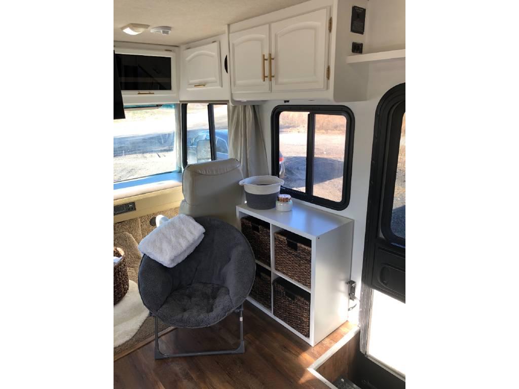 Motorhome renovation idea - book case with papasan chair